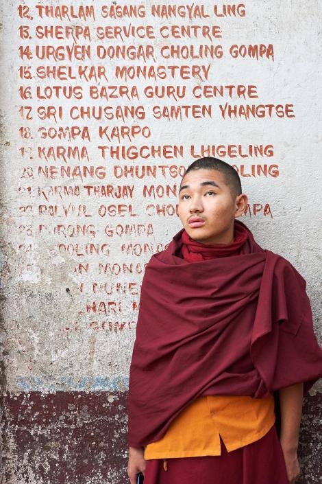 monk at bouda temple, kathmandu nepal