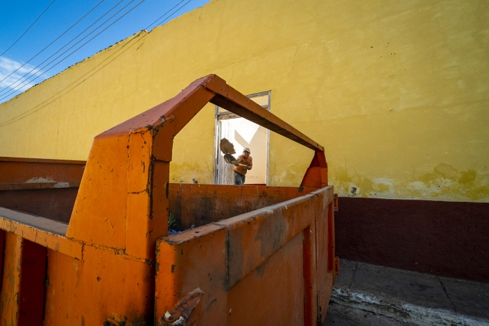 Man works at a construction site, Trinidad Cuba