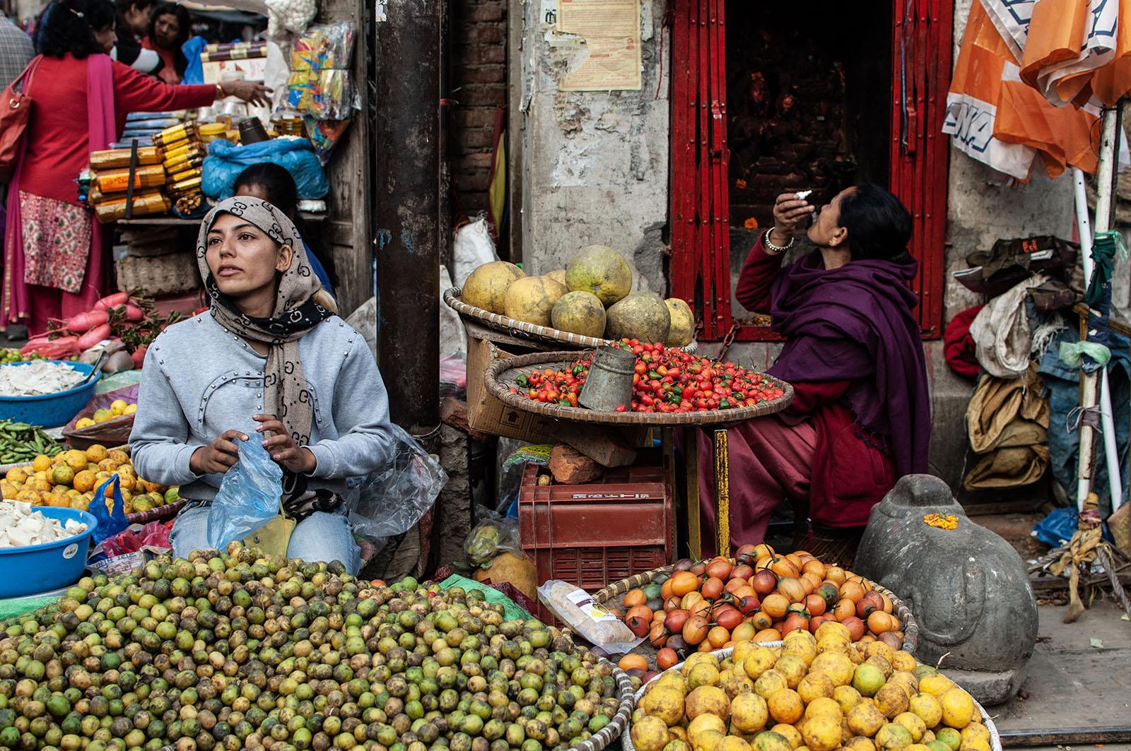Busy market in Kathmandu, Nepal