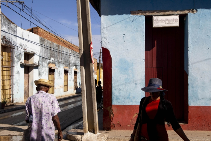 Woman walking in the streets of trinidad, cuba