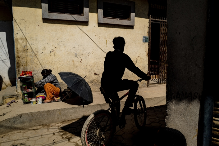 shadows, nepal, bike and umbrella