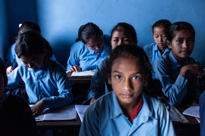 School girls in classrom, Bandiur Nepal