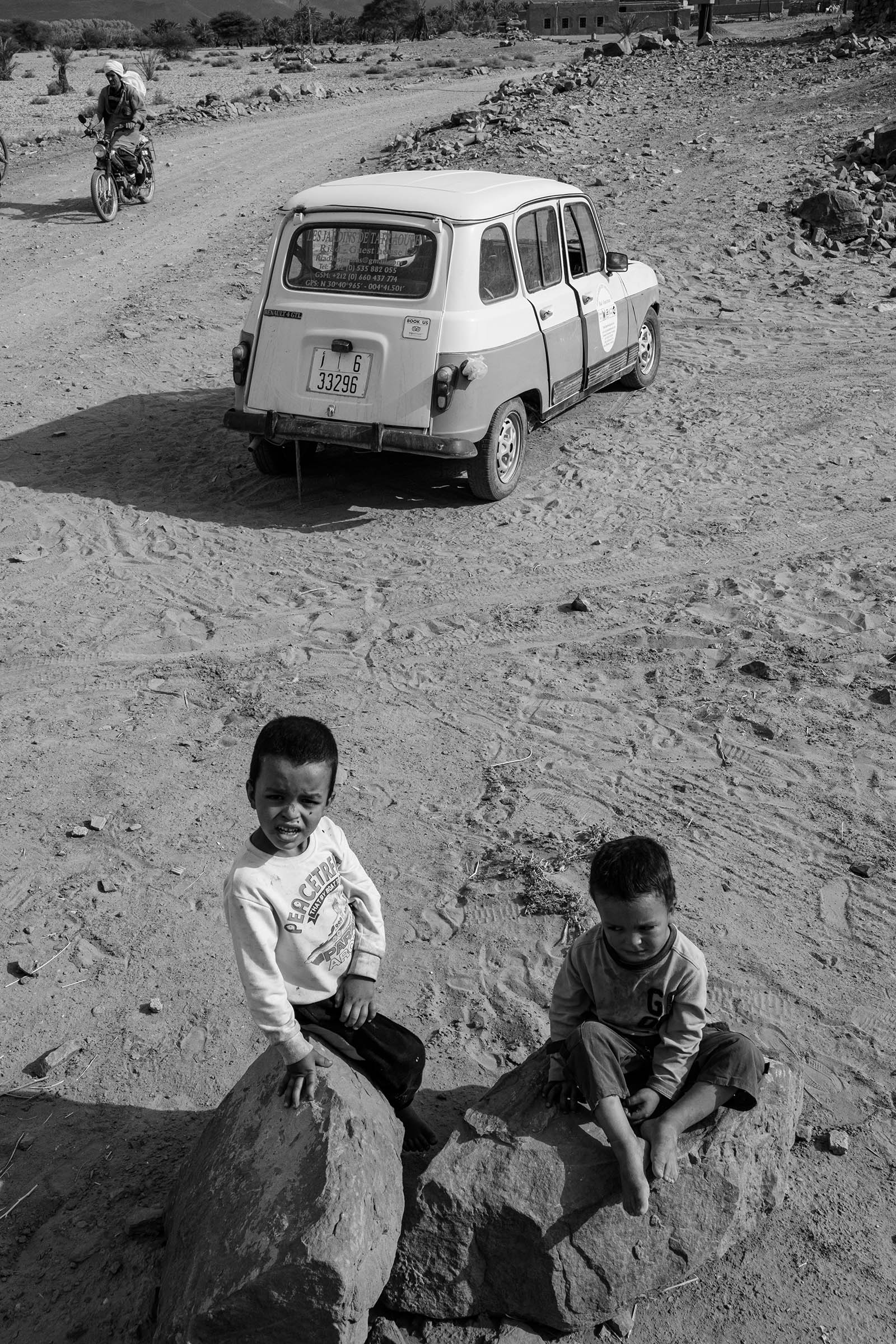 Boys and car in Tafraoute, Morocco